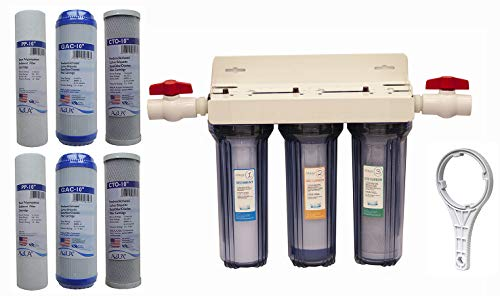 Whole House 3-Stage Water Filtration System, 3/4' port with 2 valves...