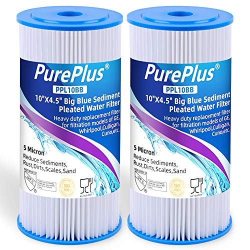5 Micron 10' x 4.5' Whole House Big Blue Pleated Sediment Water Filter...